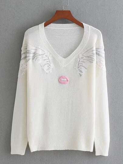 Suéter de canalé bordado de dibujo