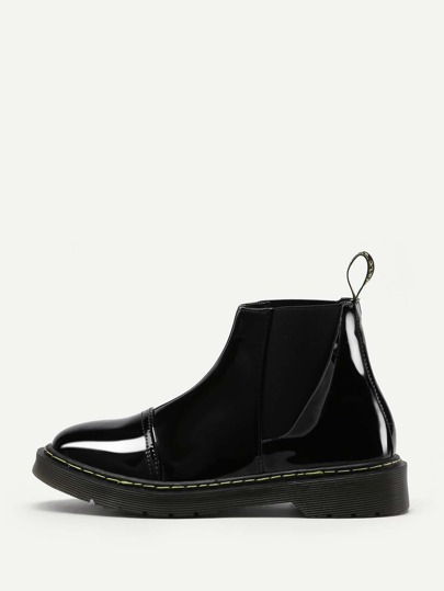 Round Toe Patent Leather Ankle Boots