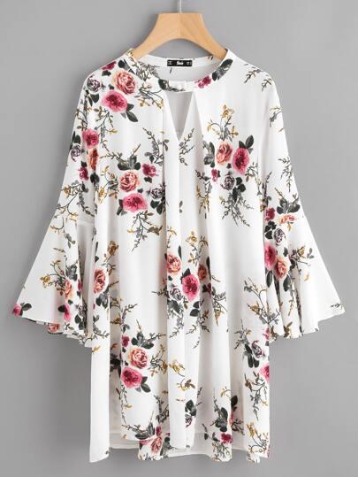 V Cut Fold Pleat Bell Sleeve Dress