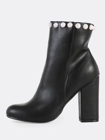 Pearl Zip Up Booties BLACK