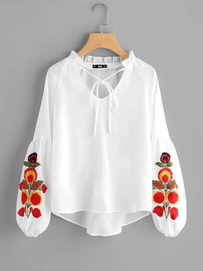 Frill Tie Neck Embroidered Lantern Sleeve Top