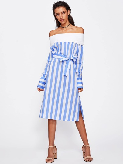 Contrast Stripe Fold Over Off Shoulder Dress