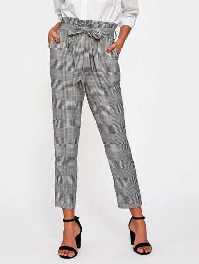 Ruffle Waist Self Belt Plaid Peg Pants