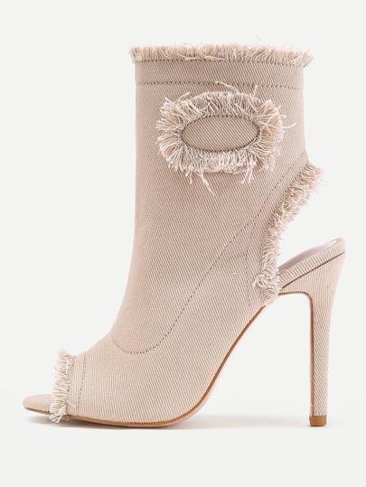 Zapatos de tacón de aguja en denim con ribete sin rematar