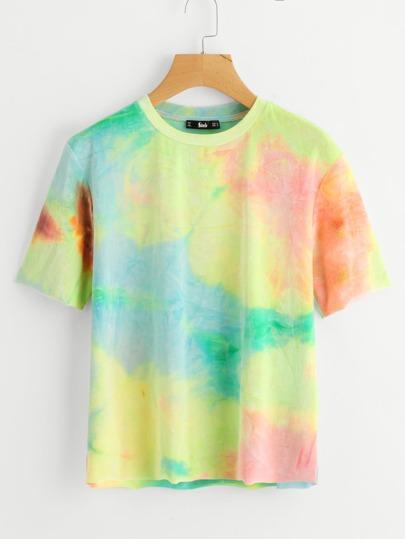 Camiseta con efecto teñido anudado de terciopelo