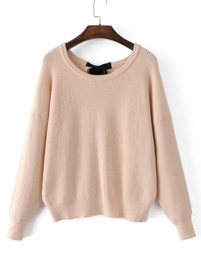 Drop Shoulder Ribbed Knit Sweater