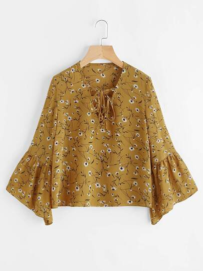 V-neckline Lace Up Fluted Sleeve Calico Print Top