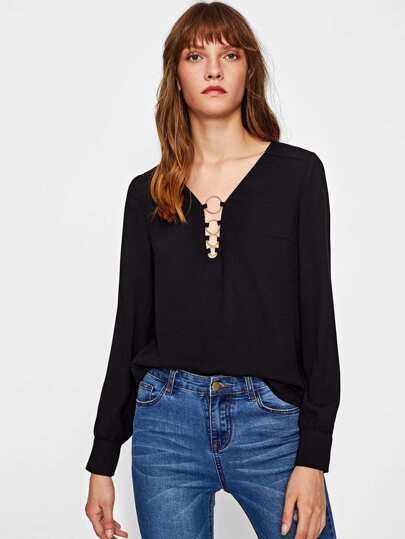 O-Ring Front Buttoned Cuff Blouse