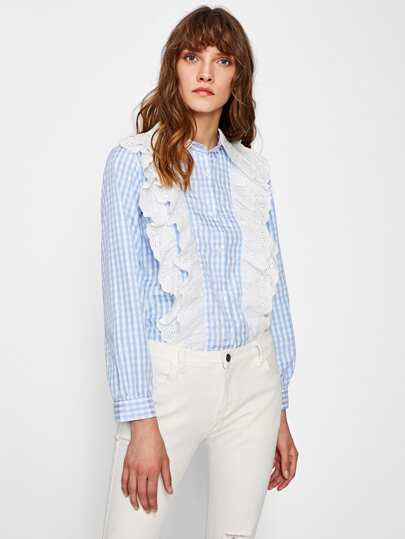 Contrast Eyelet Embroidered Frill Gingham Shirt