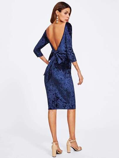 Bow Deep V Back Crushed Velvet Dress