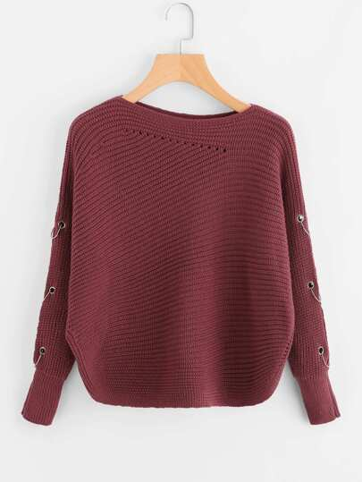Grommet O-Ring Detail Curved Hem Sweater