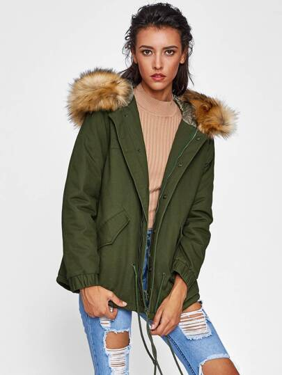 Faux Fur Trim Hood Utility Coat