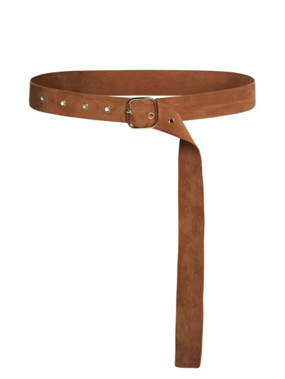 Square Buckle Eyelet Suede Belt