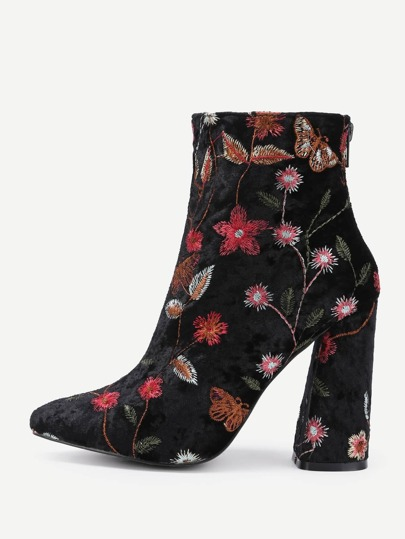 Flower Pattern Block Heeled Ankle Boots