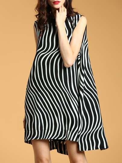 Zebra Stripe Bowknot Asymmetric Dress