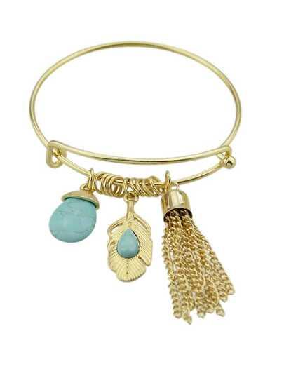 Gold Color Gem Long Tassel Pendant Bracelet