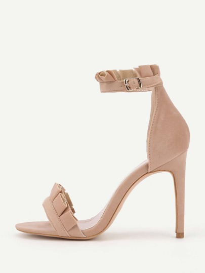 Pleated Trim Design Two Part Heeled Sandals