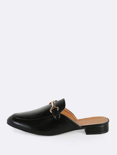 Front Buckle Loafers BLACK