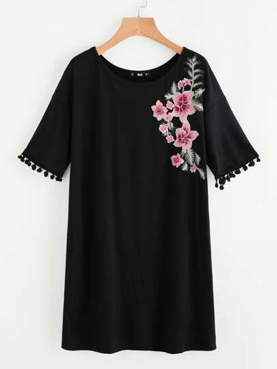 Embroidered Flower Patch Pom Pom Detail Dress