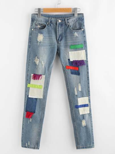 Ripped Patched Distressed Jeans