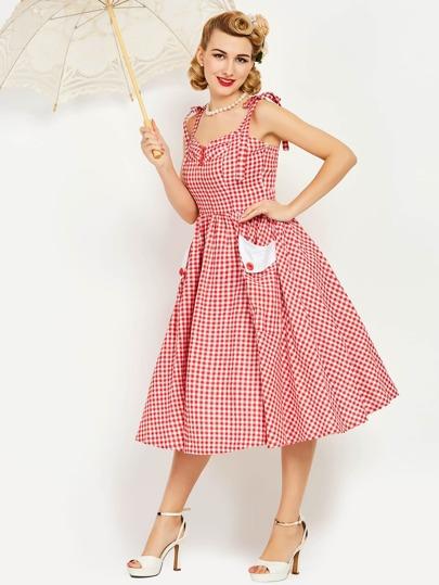 Gingham Tie-Strap Circle Dress
