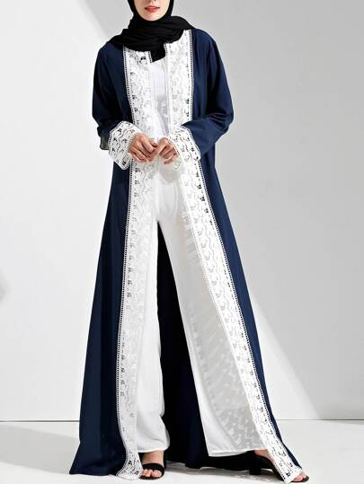 Contrast Lace Crochet Cuff And Placket Tie Waist Abaya