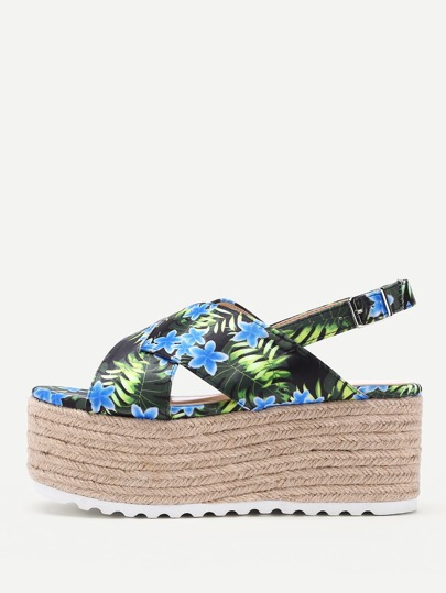 Flower Print Cross Strap Slingback Platform Wedges