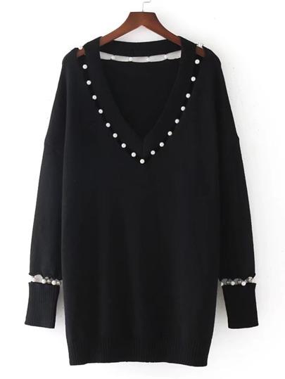 Sweater col en V avec des perles fausses