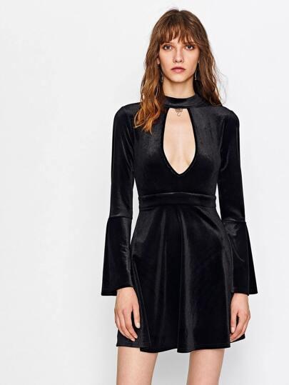 Plunge Keyhole Neck Bell Sleeve Velvet Dress