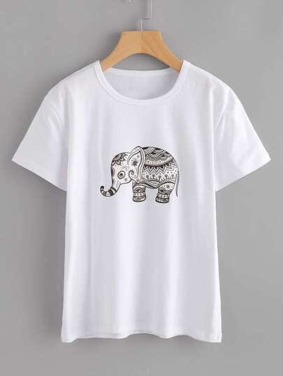 Ornate Elephant Print Tshirt
