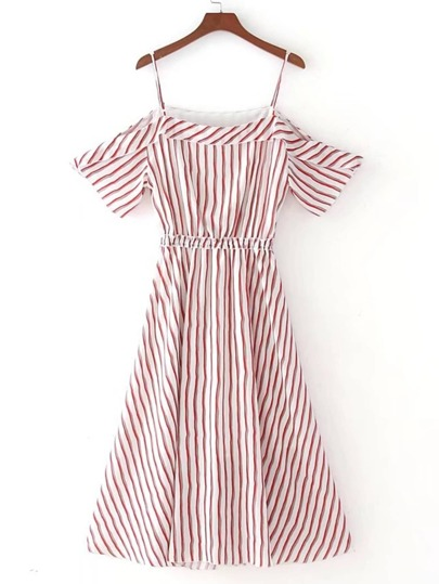 Pinstriped Open Shoulder A Line Dress