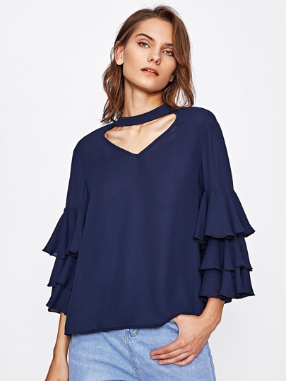 Choker V Cut Layered Trumpet Sleeve Blouse