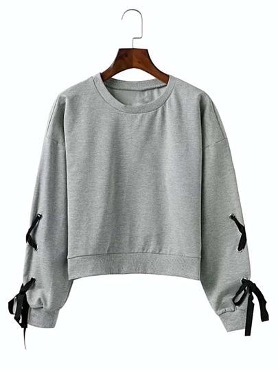 Lace Up Grommet Sleeve Drop Shoulder Sweatshirt