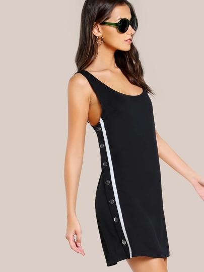Snap Button Jogger Dress BLACK