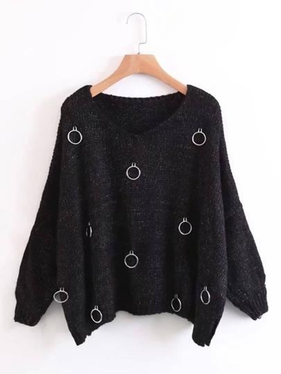 Ring Embellished Drop Shoulder Side Slit Sweater