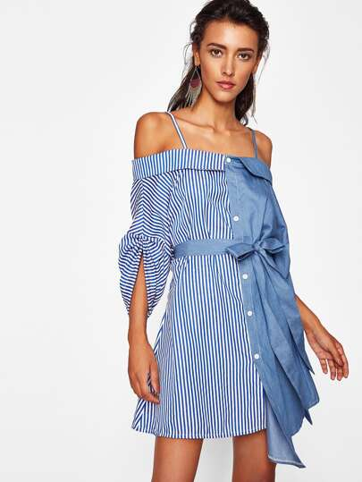 Striped Contrast Cold Shoulder Tie Waist Dress