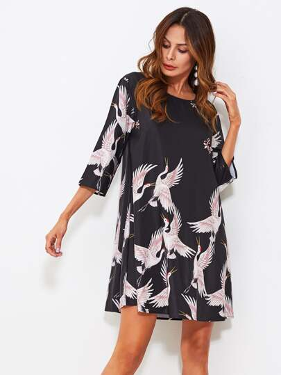 Crane Bird Print Swing Dress