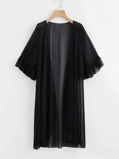Frill Cuff Chiffon Kimono