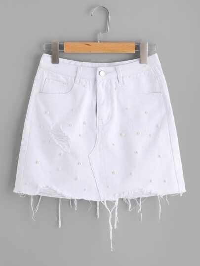 Raw Hem Pearl Beading Shredded Denim Skirt