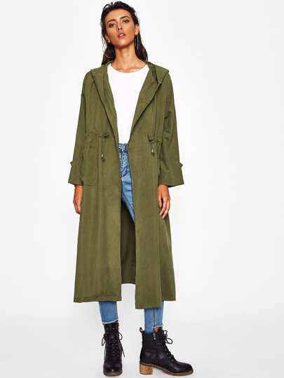 Abrigo largo con cuello esmoquin con cordones