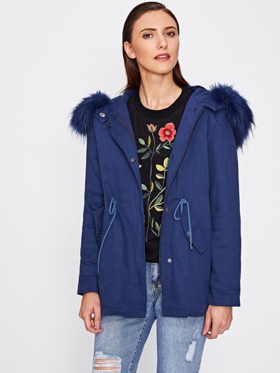 Faux Fur Trim Hoodie Drawstring Slit Back Parka Coat