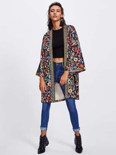 Embroidered Tape Trim Botanical Kimono Coat