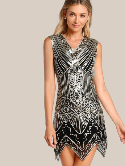Sequin Sleeveless Dress BLACK GOLD