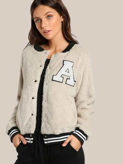 Furry Lettermans Jacket BEIGE