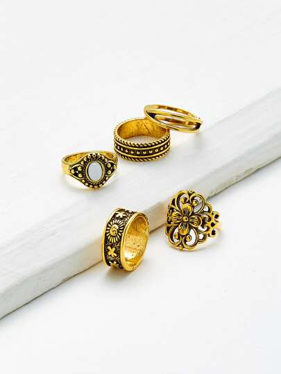 Hollow Flower Design Vintage Ring Set 5pcs