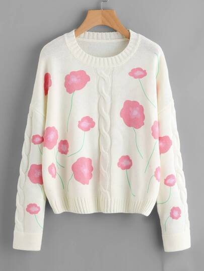 Cable Knit Flower Print Jumper
