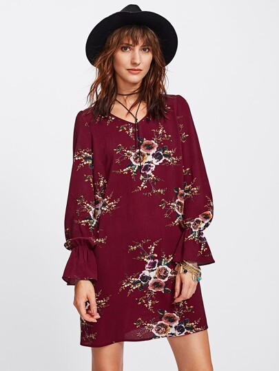 Elastic Bell Cuff Botanical Print Tunic Dress