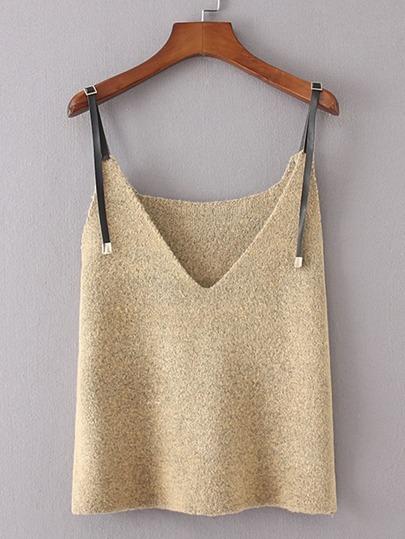Contrast PU Strap Knit Cami Top