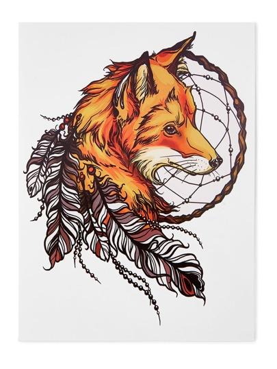 Pegatinas de tatuaje con zorro y pluma
