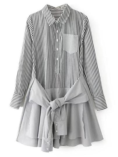 Contrast Hem Knot Front Vertical Striped Shirt Dress